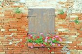 Balcony on the wall of red brick — Stock Photo