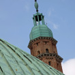 Stock Photo: Oxidized copper roof in green and high tower BasilicPalladian
