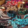 Jewelry necklaces and vintage bracelets for sale at flea market — Stock Photo