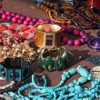 Stock Photo: Jewelry necklaces and vintage bracelets for sale at flemarket