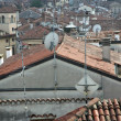 Red tile rooftops and houses in an old Italian town — Stockfoto