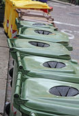 Baskets and bins for separate waste collection of glass and bott — Stock Photo
