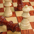 Checkmate with the King threw and the White Queen who wins — Stock Photo