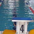 Olympic swimming pool with lanes bowbefore the race — Stock Photo