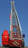 Stair riser and blue truck Siren of firefighters during an emerg — Stock Photo