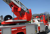 Cabin with a command console fire trucks to manoeuvre the automa — ストック写真