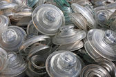 Storage of glazing and glass insulators abandoned on a landfill — Stock Photo