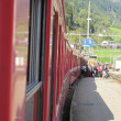 Red train around the beautiful Swiss mountains 13 — Stock Photo