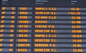 Board schedules of arrivals and departures of trains in an Itali — Foto Stock