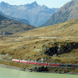 Red train around beautiful Swiss mountains 2 — Foto Stock #22947296