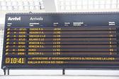 Horários de placa de chegadas e partidas dos trens em um b — Foto Stock