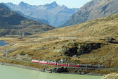 Train rouge autour des montagnes suisses belle 2 — Photo