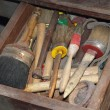 Tools in a dusty carpentry workshop expert in restoration of ant — Stock Photo