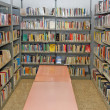 Public library with many books to borrow — Stok fotoğraf