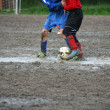 Children players during a football match in a playing field full - Stock Photo
