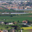 Pianura padana in veneto with the citizens ' houses and fields a — Stock Photo