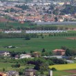 Pianura padana in veneto with the citizens ' houses and fields a - Stock Photo