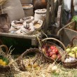 Cart and baskets with seasonal fruit and vegetables for sale at - Stock Photo