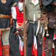 Leather pants with medieval accessories during the medieval spec — Stock fotografie