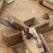 Old wooden and iron Planer for the manufacture of wooden planks — Foto de Stock