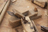 Old wooden and iron Planer for the manufacture of wooden planks — Stock Photo