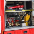 Rescue equipment and shutting down the fire inside fire truck - Stock Photo