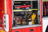 Rescue equipment and shutting down the fire inside fire truck — Stock Photo