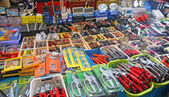 Many useful tools for sale in hardware store — Stock Photo