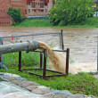 Impressive exhaust flows into river rainwater and mud - Foto de Stock