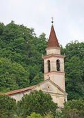 Ancient pieve amidst the forest place of prayer and meditation — Stockfoto