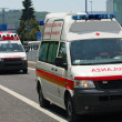 Two Italian Red Cross ambulance and a police car run fast in the — Stock Photo #25935141