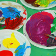 Acrylic color palettes to the nursery during the drawing lesson — Stock Photo #26554033