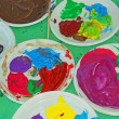 Acrylic color palettes to the nursery during the drawing lesson — Stock Photo