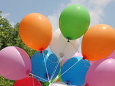 Balloons during a party for kids on a sunny day — Stock Photo