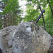 Постер, плакат: Legendary and famous sword to King stuck between the rock
