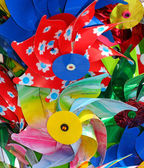 Colorful pinwheels in plastic sold in toy store — Stock Photo