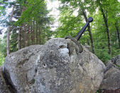 Legendary and famous sword to King stuck between the rock — Stock Photo