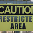 Sign of attention to avoid crossing forbidden military zone — Stock Photo