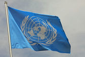Blue flag of the UN United Nations Organisation — Stock Photo