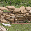 Stock Photo: Retaining wall in pillbox shelter of roadblock in military w