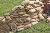 Retaining wall in a pillbox shelter of a roadblock in military w — Stock Photo