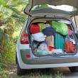 Car very full of suitcases and bags before leaving for vacation — Stock Photo
