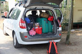 Two green suitcases and many bags in the car — Stock Photo