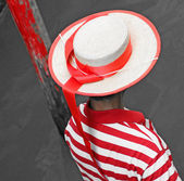 Detail of the hat and striped Jersey of the Venetian gondolier i — Stock Photo