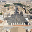 Breath taking panoramic view of St. Peter's square in Vatican Ci — Stock Photo