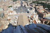 Panoramic view of the city of Rome from above the dome of the Ch — Stock Photo