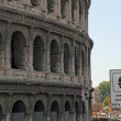 Road sign speed limit control near the Colosseum — Stock Photo