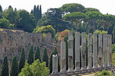 Ancient columns of the Roman temple in the Fori Imperiali near t — Stock Photo