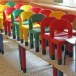 Nice chairs on the tables of the refectory of asylum — Stock Photo