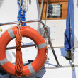 Stock Photo: Lifebuoy attached to boat at port of Venice ready upon dep